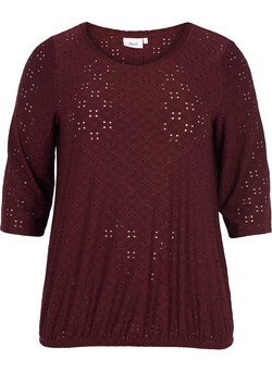 Bluse med broderie anglaise